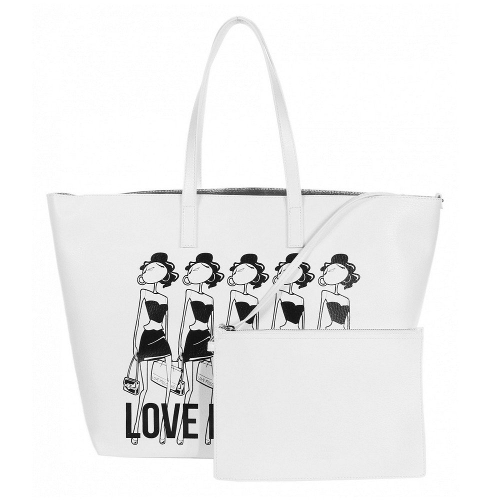 love moschino jc4308pp01kt0100 damen women shopper bag tasche purse wei white wei damen. Black Bedroom Furniture Sets. Home Design Ideas